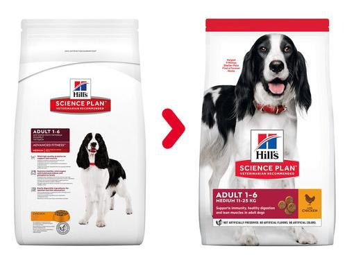 Hill's Science Plan Canine Adult Advanced Fitness Medium with Chicken (Хиллс) корм для собак средних пород от 1 года до 6 лет, курица