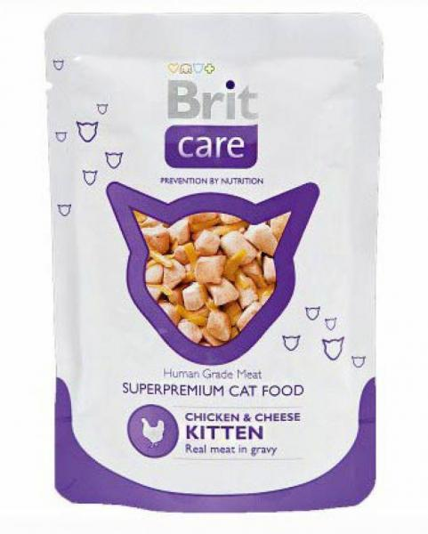 Brit Care Kitten Chicken Breast & Cheese Pouch пресервы для котят курица с сыром