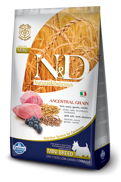 Farmina N&D Low Grain Dog Adult Mini Lamb&Blueberry (Фармина Низкозерновой Н&Д Лоу Грейн Дог Эдалт Мини) корм для собак мелких пород, ягненок и черника